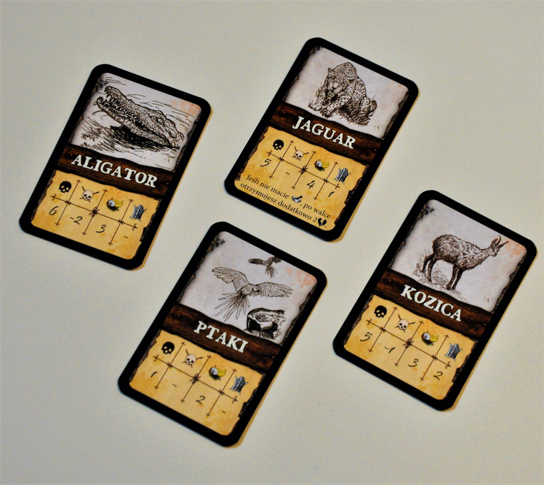 Karty dzikich zwierząt, naktóre możemy polować podczas gry
