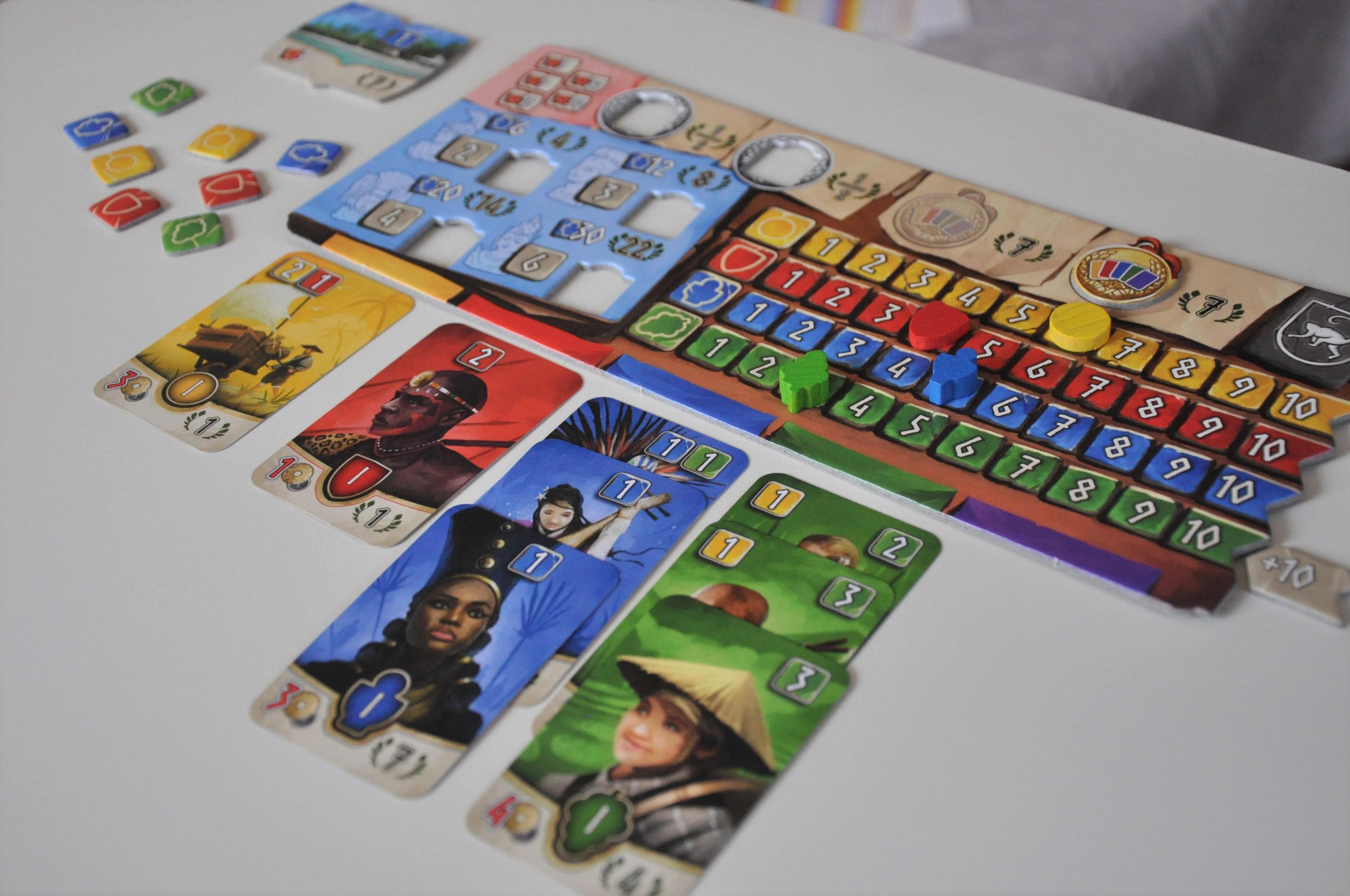 Planszetka gracza wraz zwyłożonymi kartami