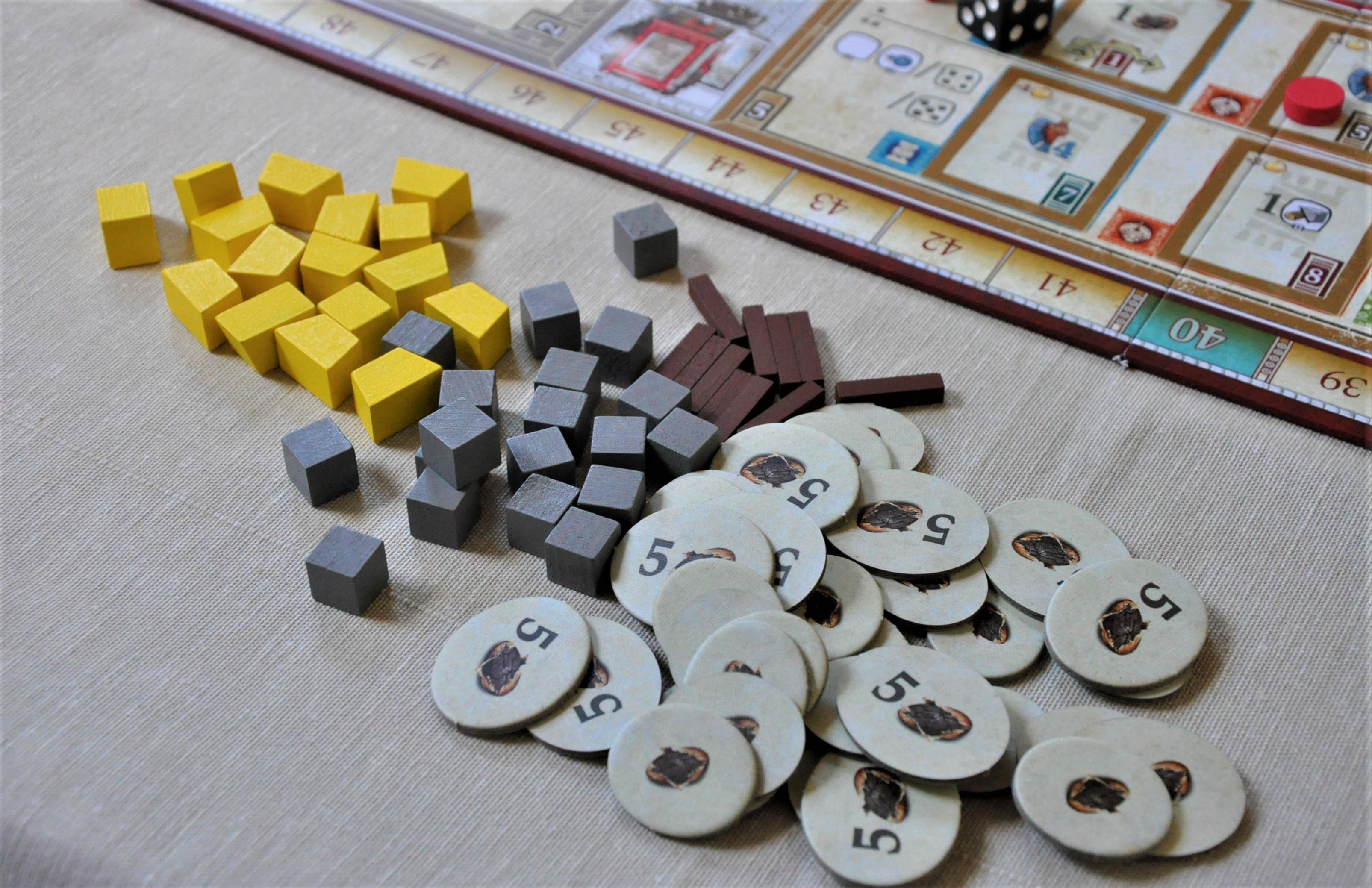 Dostępne wgrze zasoby (złoto, kamień, drewno ikakao)