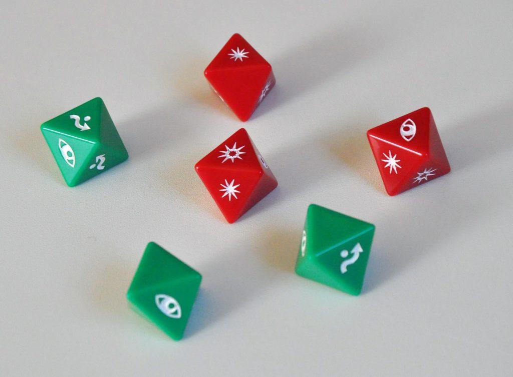 Kości ofensywne (czerwone) idefensywne (zielone)