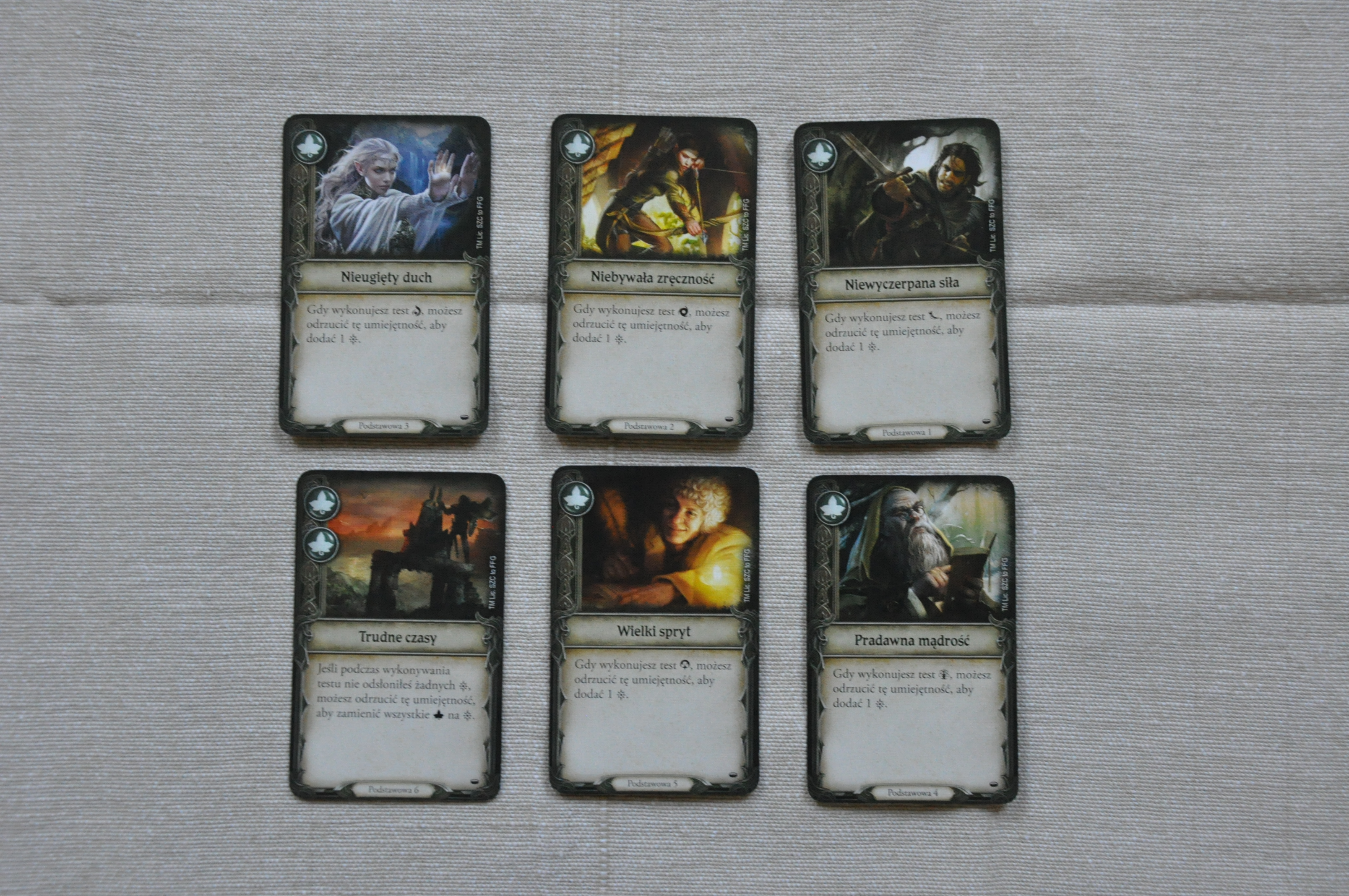 Podstawowe karty, obecne wtalii każdej postaci