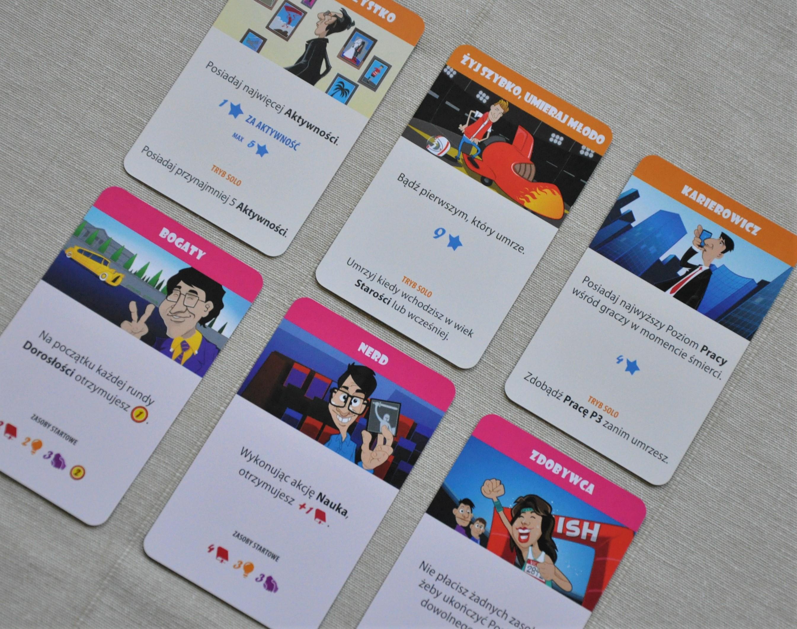 Przykładowe karty celów życiowych (góra) icech dziecka (dół)