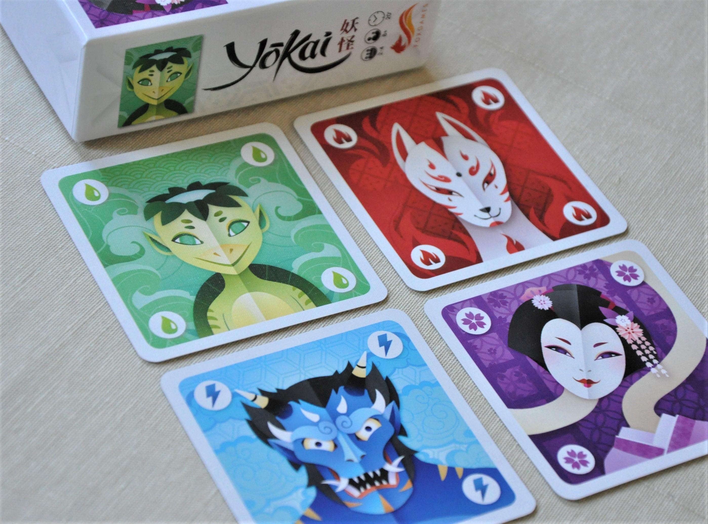 Karty przedstawiające 4 rodziny Yokai